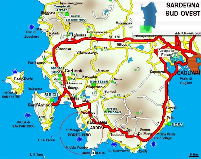 Cartina Sardegna Del Sud.Lni Sulcis Porto Pino Cartina Della Sardegna Sud Ovest E Sulcis Iglesiente